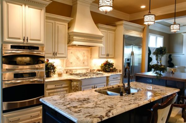 Amazing View In Gallery Pendant Lights That Blend In With The Pattern Of The Kitchen  Island Top