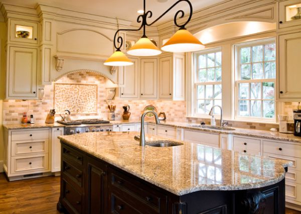 pendant lights with a traditional touch above a glazed marble kitchen