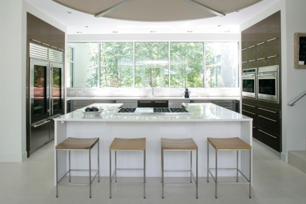 Perfect way to incorporate glass door refrigerators in a modern kitchen space