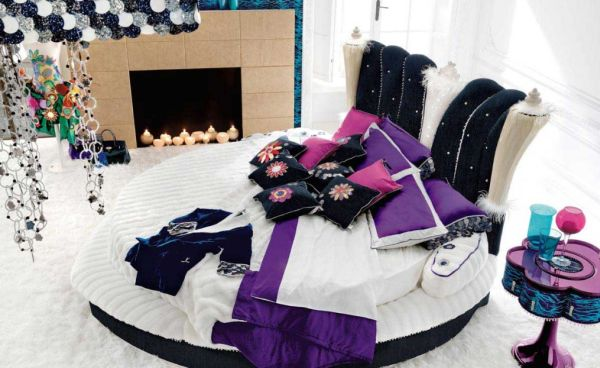 Playful and exciting bedroom design with a round bed