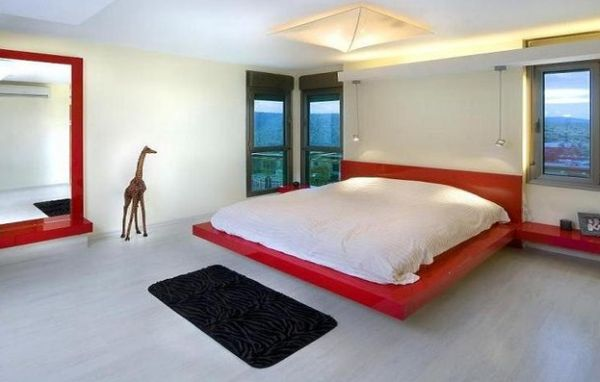 playful bedroom design with a colorful floating bed - Designs Of Bed For Bedroom