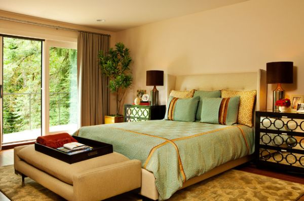 Plush upholstered bench in a bedroom laced with ample green