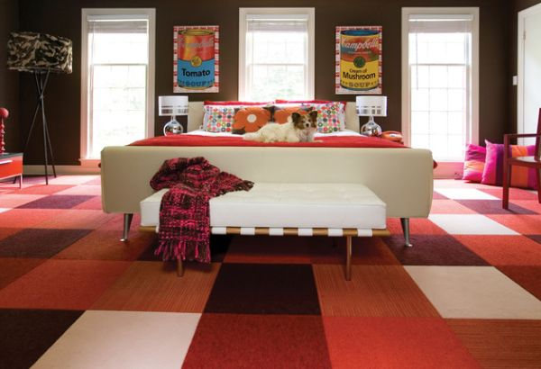 Pop-inspired colorful bedroom with a mid-century modern style bench