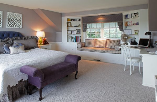 Purple sofa-styled bench in the kids' bedroom adds a regal touch to the white interiors