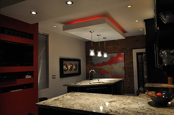 Red neon lighting in the kitchen
