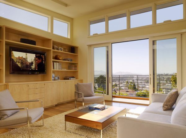Relaxing family room opens up into the balcony through the sliding glass doors