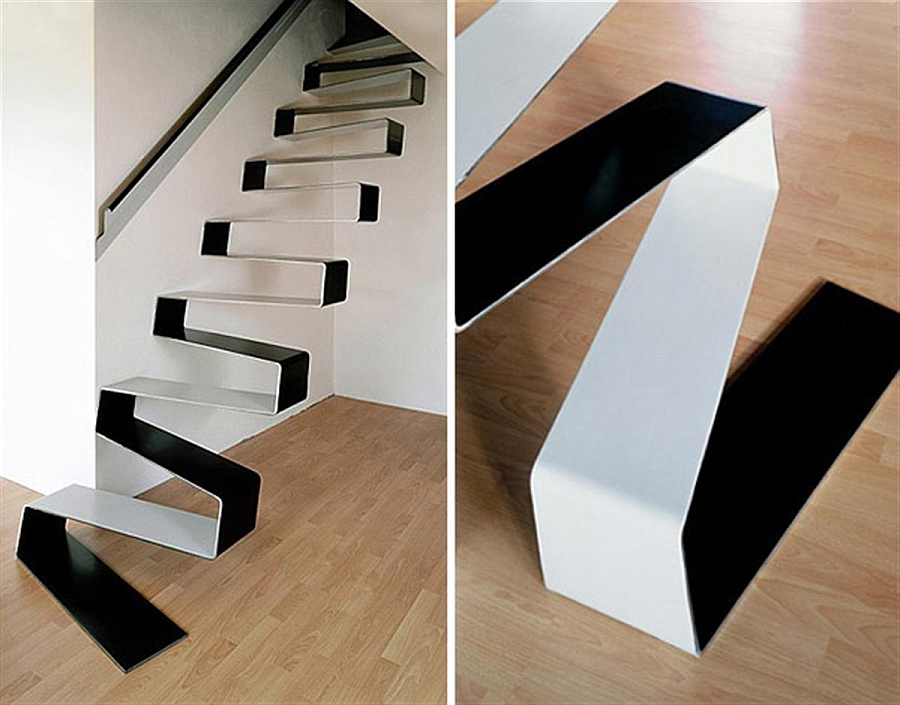 Rippling ribbon staircase for the uber minimal home