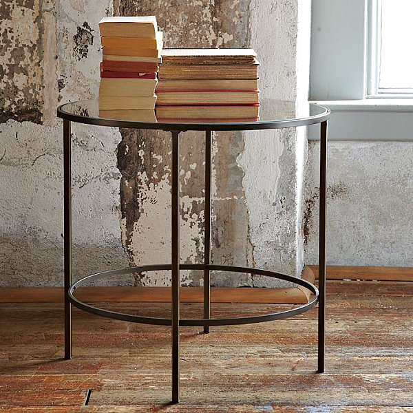 Round Art Deco-style mirrored side table