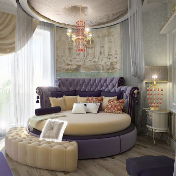 ... Stunning bedroom that uses a circle bed and a soothing shade