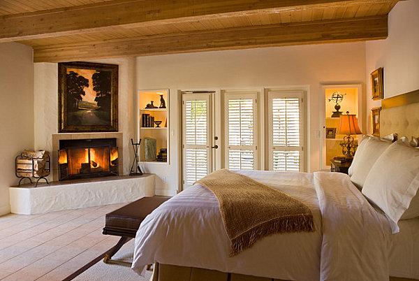 Rustic corner fireplace