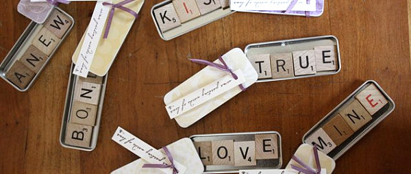 Scrabble tile magnet wedding favors