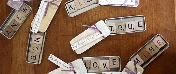 Scrabble tile magnet wedding favors