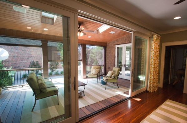 Seating area separated from the home using sliding glass doors