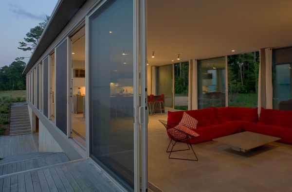 Series of sliding glass doors offer ample ventilation when needed