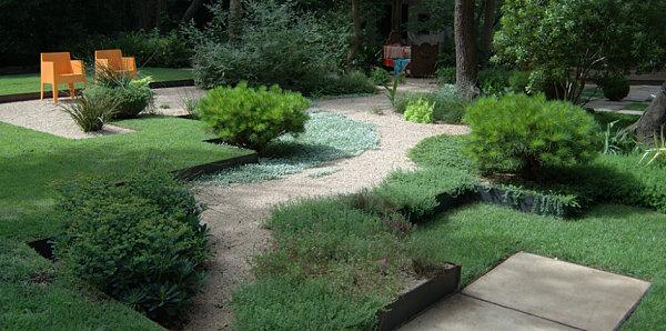 Shades of green in a modern garden