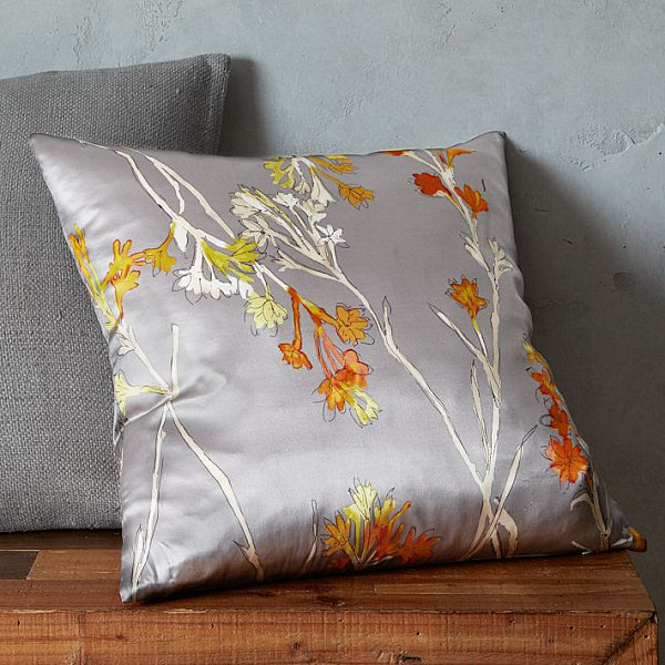 Silk floral pillow cover