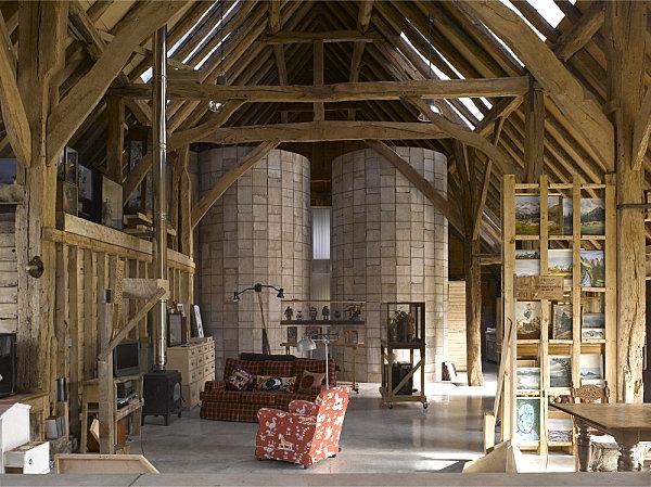Silos in a restored barn
