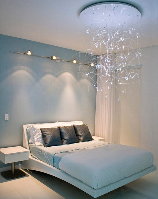 Sleek modern bedroom design with lovely lighting and a floating bed