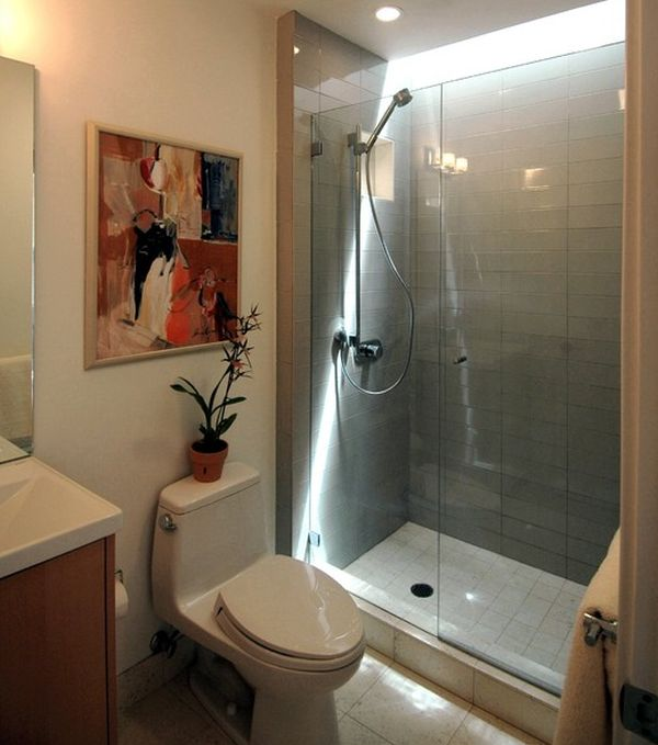 Sliding glass door shower enclosure in an Asian styled bathroom