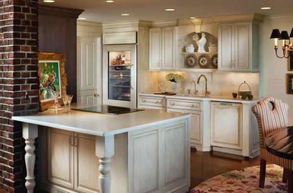 Small And Open Kitchen Design With Glass Door Refrigerator