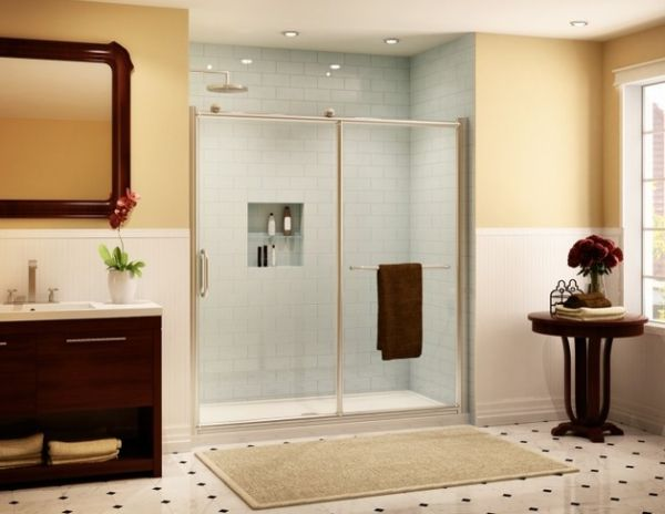 Sliding door shower enclosures for the contemporary bathroom for Small sliding glass doors