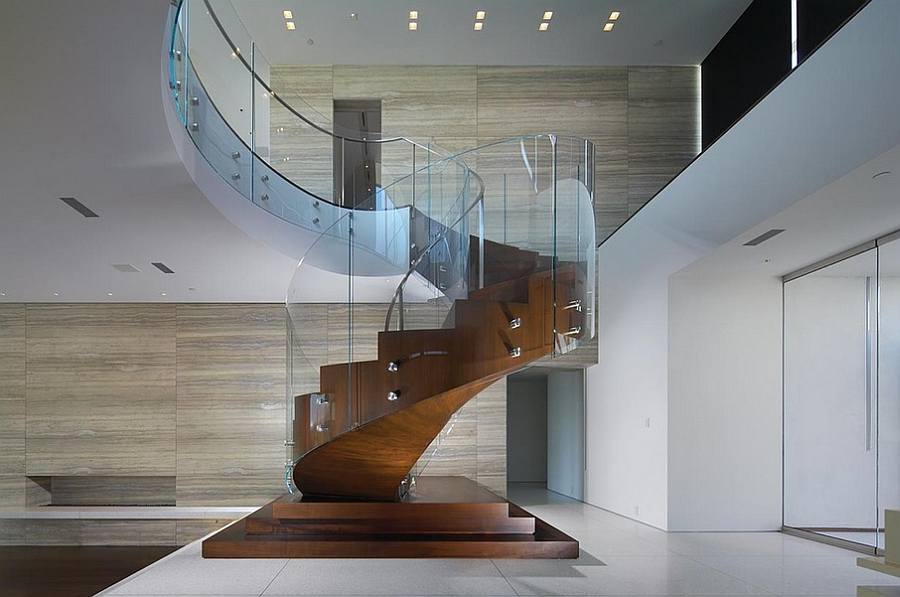 Spiral staircase in wood and glass