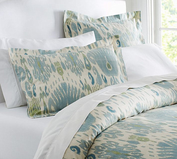 Spring blue ikat bedding