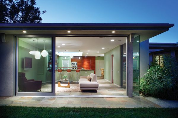View In Gallery Stunning Modern Home With Stylish Sliding Glass Doors
