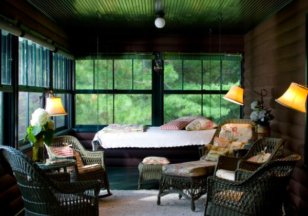 Stunning screened porch with a hanging bed offering the best seat in the house 29 Hanging Bed Design Ideas to Swing in the Good Times