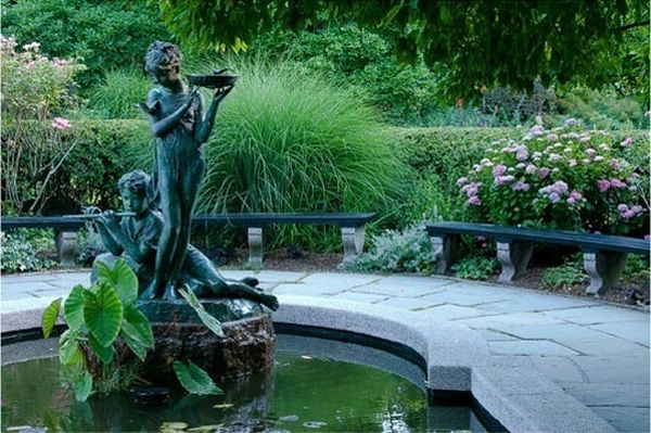 Stunning work of art forms the centerpiece of this large garden