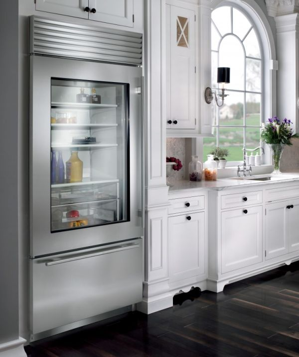 Stylish glass door refrigerator for a kitchen in neutral tones