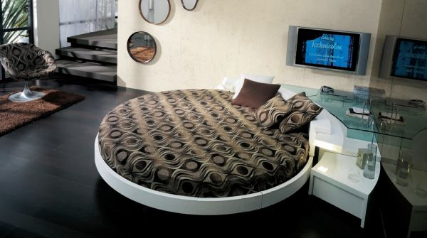 Stylish modern round bed nicely tucked in a corner