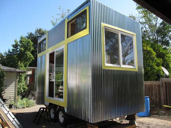 Tiny house on a flatbed trailer