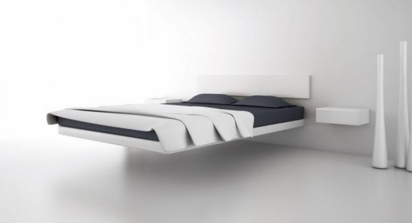 Uber minimalist floating bed design with wall support