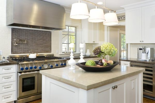 View In Gallery Unique Pendant Lights That Offer A Softer Light For This Neutral Kitchen