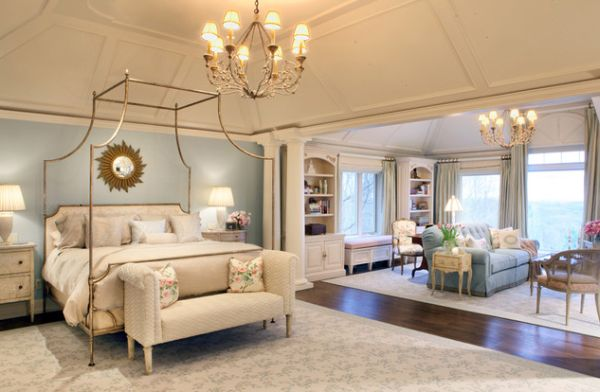 Vintage bedroom with custom tray ceiling