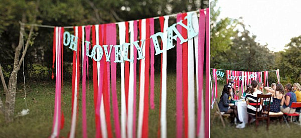 Wedding ribbon backdrop