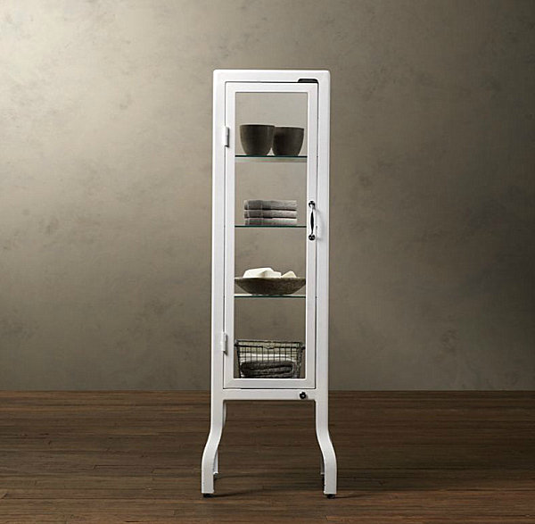 White steel and glass cabinet