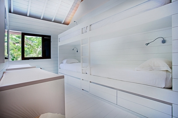 all white bunk beds bedroom