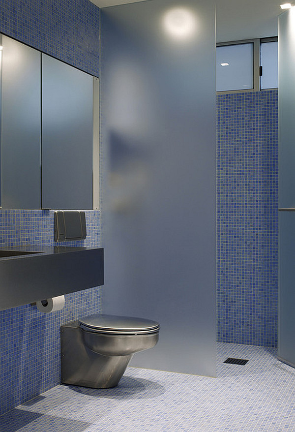 Frosted glass for privacy in the bathroom
