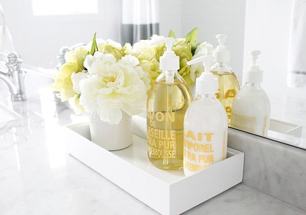 beautiful flowers in the bathroom