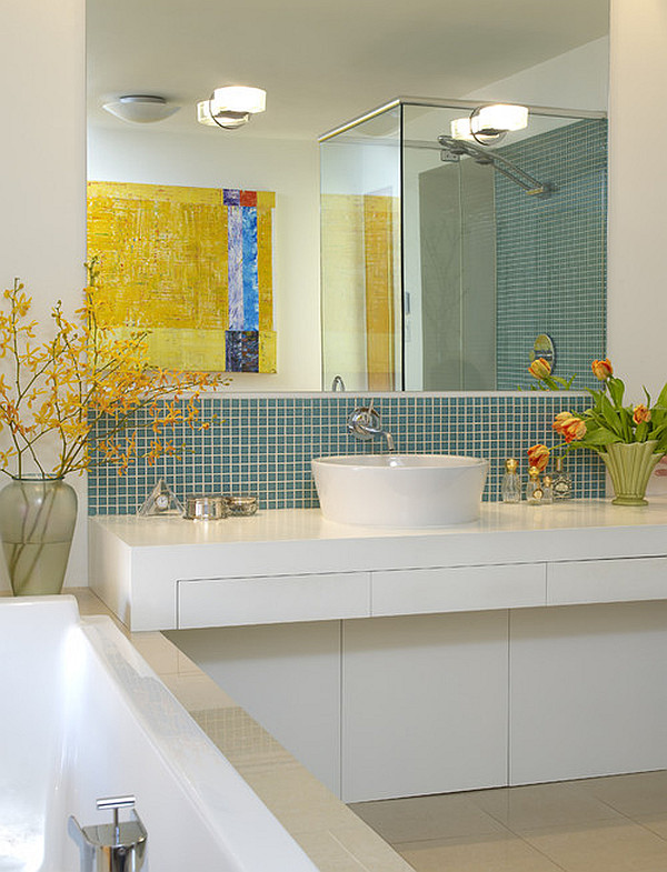 Beautiful tulips and yellow tree branches in the bathroom