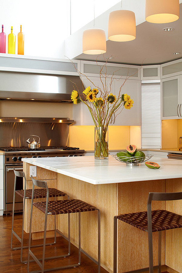 Beautiful yellow kitchen island flowers