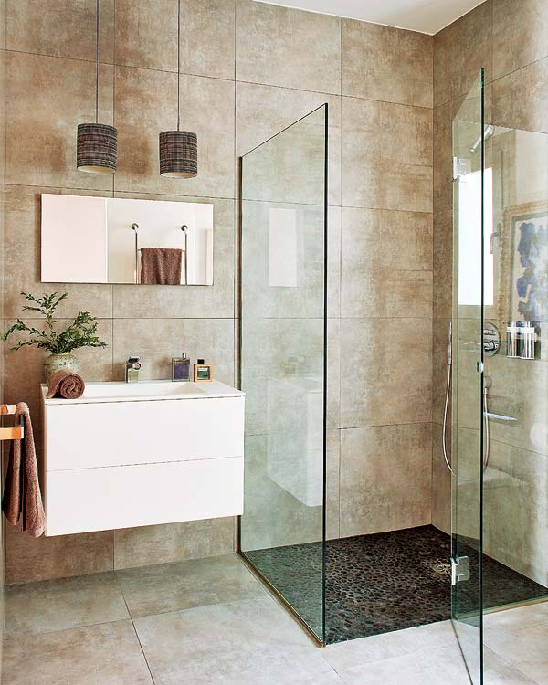 contemporary bathroom with shower