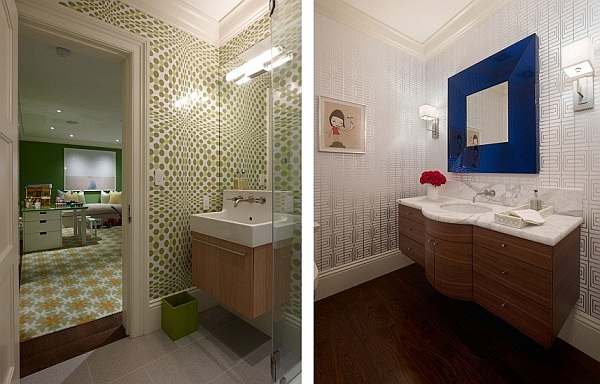 fancy bathroom designs with patterned wallpaper