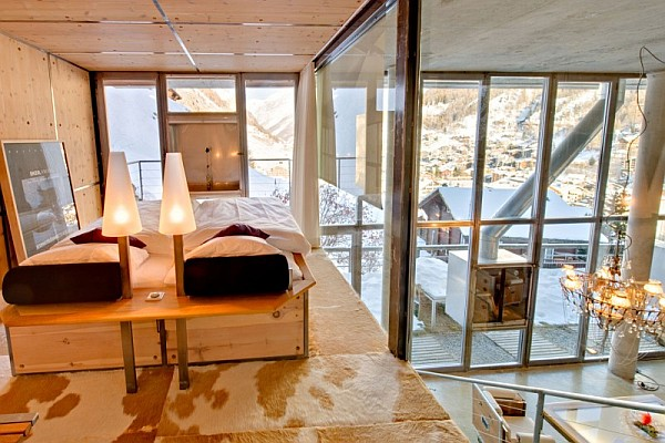 fancy bedroom in modern loft zermatt