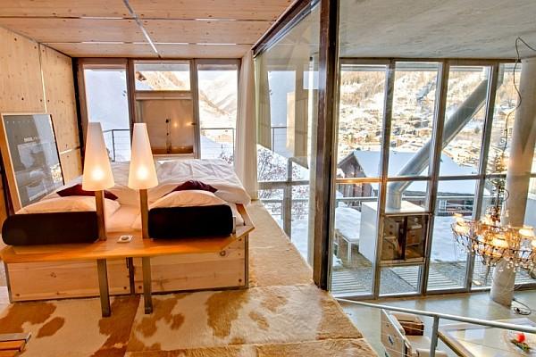 fancy bedroom in modern loft zermatt