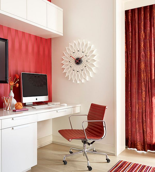 Fancy home office flowers in a white and red environment