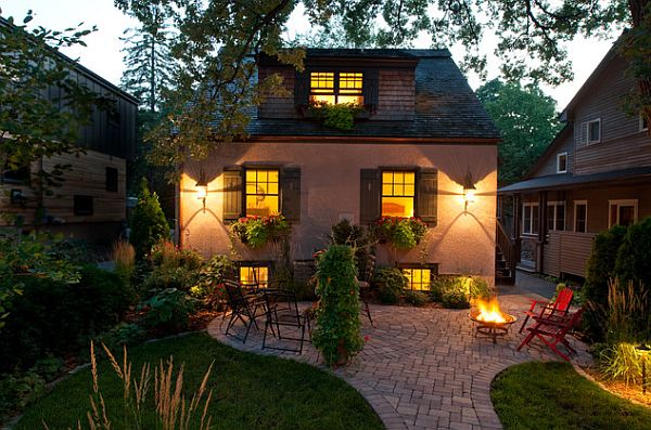 garden patio design with beautiful lighting