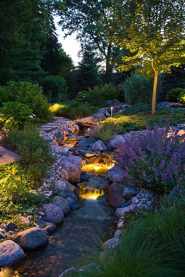 garden river with submerged lighting